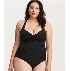 NEW Torrid Black One Piece Swimsuit Medium